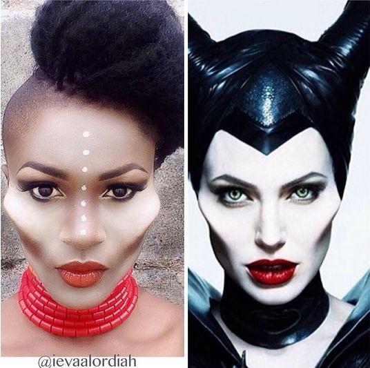 Eva Alordiah Recreates Angelina Jolie S Maleficent Makeup