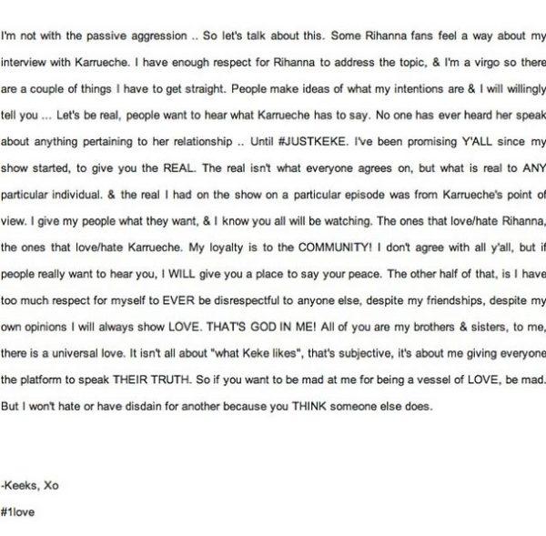 Keke Palmer's Reply to Rihanna Fans