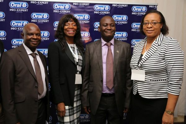 Bode Ijarogbe, President Elect, Nigerian Dental Association; Dr. Uchenna Okoye, CEO London Smiling Dental Clinic UK and Brand Ambassador, Oral B Premium Line; Dr. Olurotimi Olojede, President, Nigerian Dental Association and Dr. Ifeoma Menakaya, Consultant and Restorative Dentist