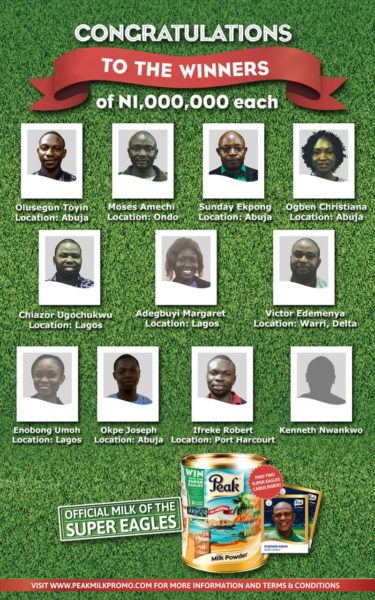 Peak Milk Super Eagles Promotion Winners - Bellanaija - July 2014002.png