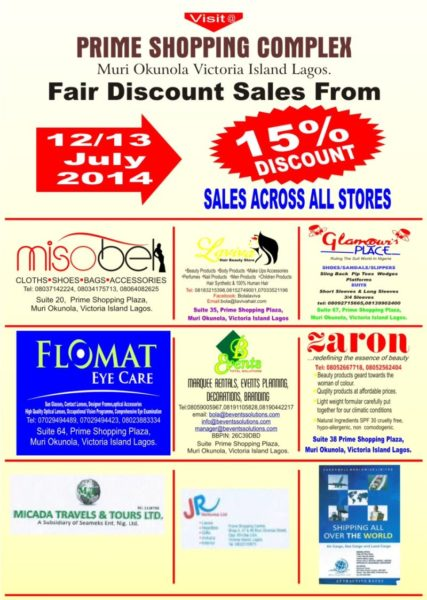 Prime Shopping Complex Fair Discont Sales - Bellanaija - July2014