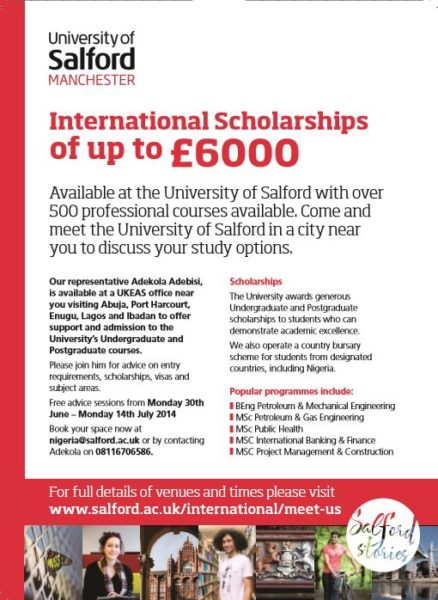 University of Salford Manchester Internatinal Scholarships - Bellanaija - July2014