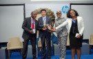 The Assistant Comptroller-General, Nigeria Customs Services (NCS), Ms. Adeyemo Grace receiving the Recognition Award for their commitment to the fight against counterfeits in Nigeria