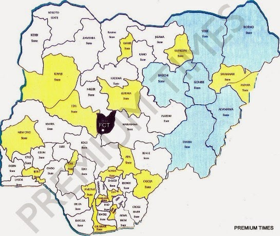 New Map of Nigeria - August 2014 - BellaNaija.com 01
