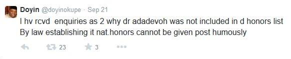 Doyin Okupe Tweet BellaNaija
