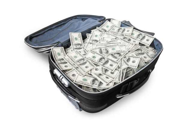 lot of money in a suitcase