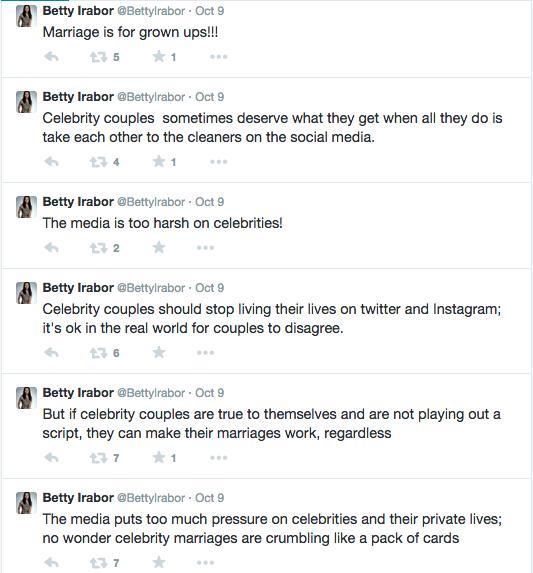 Betty Irabor Celeb Couples Tweets