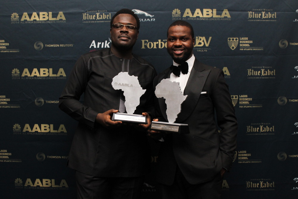 Chude Jideonwo and Adebola Williams won the CNBC Africa Young Business Leader of the Year Award in 2014. (Image Credit: BellaNaija)