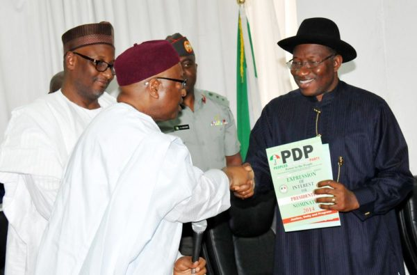 PIC. 25. PRESIDENT JONATHAN COLLECTS PDP EXPRESSION OF INTEREST AND NOMINATION FORMS IN ABUJA