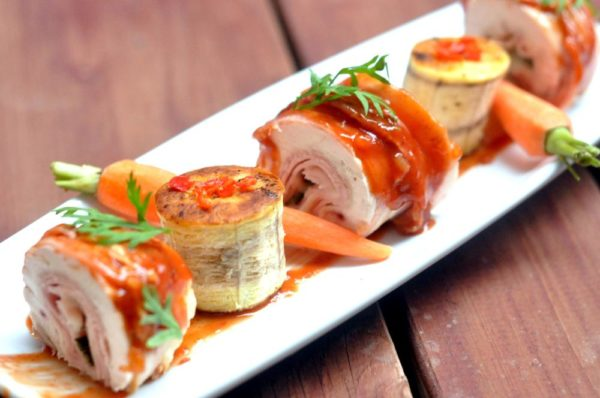 Plantain and chicken roulade1