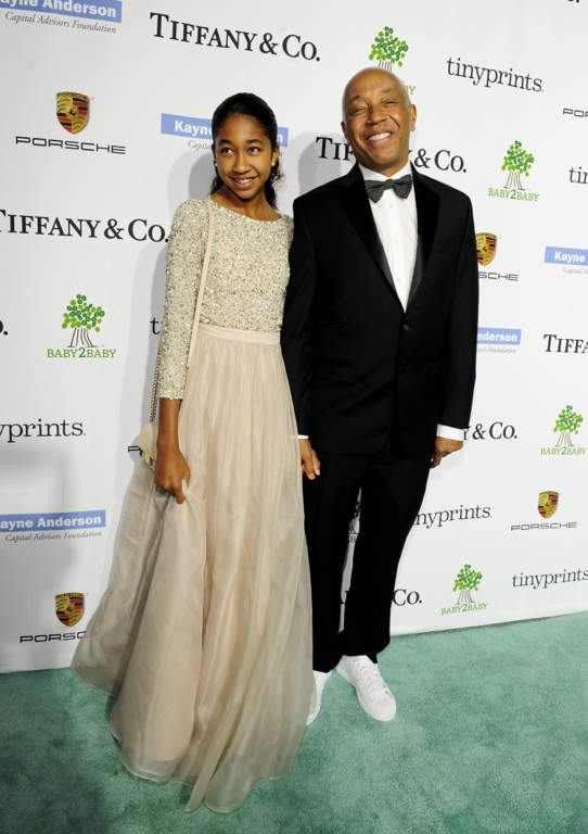 Aoki Lee Simmons with dad Russell Simmons