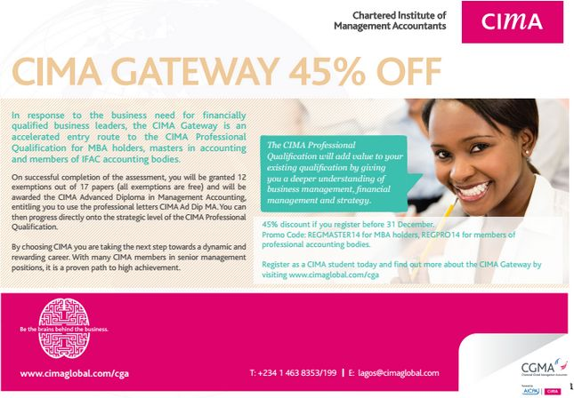 Chartered Institute of Management Accountants Gateway - BellaNaija - November 2014