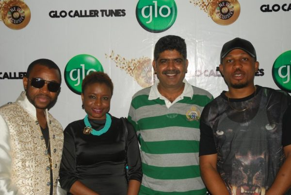 Glo Ambassadors Sanni Danja, Ego and Naeto C (right) with Globacom Head, VAS Commercial, Viswanath Nagassai at Industry Nite
