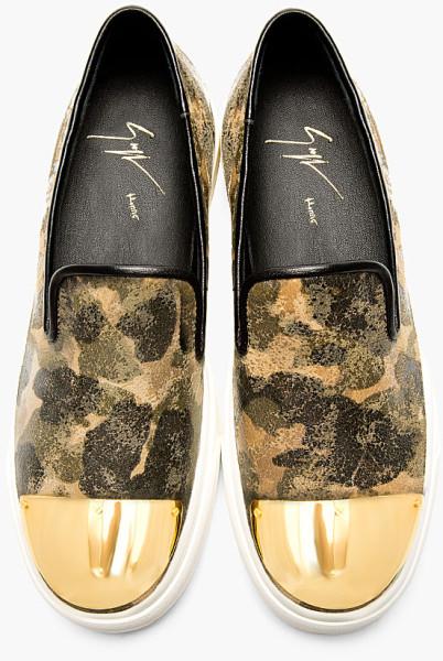 Giuseppe Zanotti Khaki Camo Gold Toecap Leather Loafers
