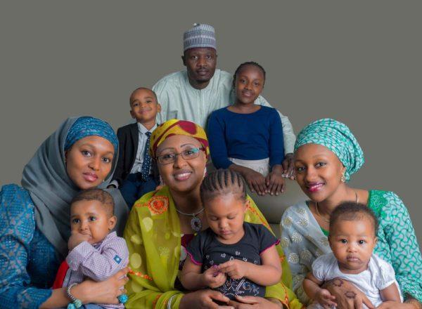 (Bottom-row-From-left),-Safina-Buhari,-Mrs-Aisha-Buhari,Halima-Buhari-Sheriff,(top-row-from-right),-Noor-and-Mohammed-Sheriff