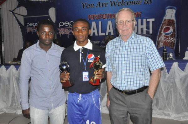 L-R: Technical Officer,PFA, Adewale Laloko,  Thankgod Nnoron,  Most Valuable Players for the 3rd Place  Match for U-16 and the Consultant to Pepsi Football Academy, Mr. Iain Nelson
