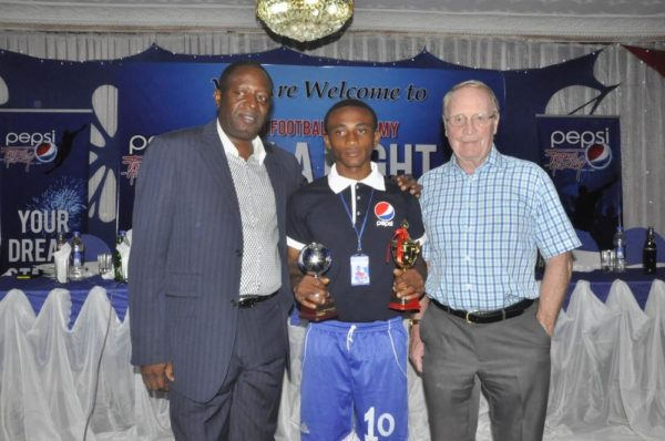 L-R: Technical Director, Nigeria Football Federation (NFF), Shuaibu  Amodu; Thankgod Nnoron,  Most Valuable Players for the 3rd Place  Match for U-16 and the Consultant to Pepsi Football Academy, Mr. Iain Nelson during the Pepsi Football Academy's  Gala Night in Lagos at the weekend