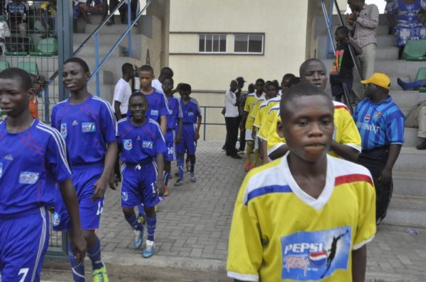 The Pepsi Football Academy U-14 from the East line up against U-14 from West 1 during the Pepsi Football Academy Festival of Youth in Lagos at the weekend