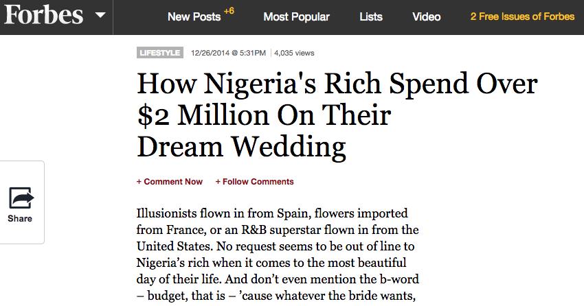 Forbes - Nigerian Dream Weddings - BellaNaija.com 01