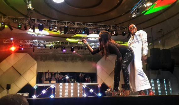 Tiwa Savage and Patoranking on Stage