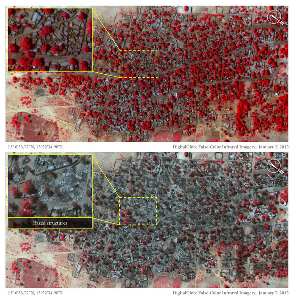 Doro Gowon Satellite view on 2 Jan 2015 and 7 Jan 2015