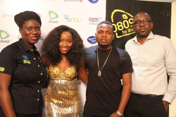Manager, Sponsorship, Etisalat Nigeria, Orah Egwu; Winner, Nigerian Idol Season 4, Evelle; Etisalat Brand Ambassador, Olamide and Director, Segments, Etisalat Nigeria, Oluwole Rawa