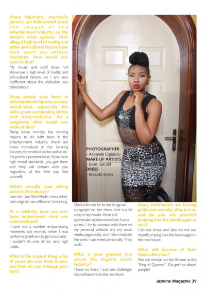 Yemi Alade Jasmine Magazine Feature 2