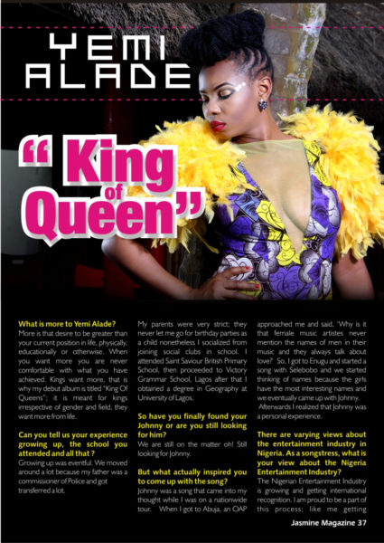 Yemi Alade Jasmine Magazine Feature 3