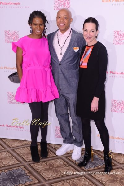Executive Director at Rush Philanthropic Arts Foundation Tangie Murray, Rush Philanthropic Arts Foundation co-founder Russell Simmons, and fashion designer Cynthia Rowley attend Russell Simmons' Rush Philanthropic Arts Foundation's annual Rush HeARTS Education Valentine's Luncheon at The Plaza Hotel on February 13, 2015 in New York City.  (Photo by Stephen Lovekin/Getty Images for Rush Philanthropic Arts Foundation)