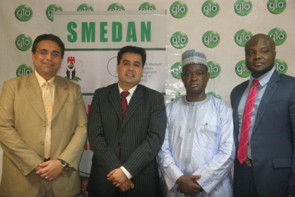 Globacom's Chief Commercial Director, Ajay Mathur; Regional Chief Marketing Officer, Ashok Israni; the Director General, SMEDAN, Hon Bature Umar Masari, and Head, Corporate Sales, Globacom, Kamaldeen Shonibare.