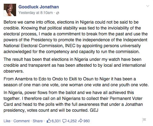 Goodluck Jonathan Elections