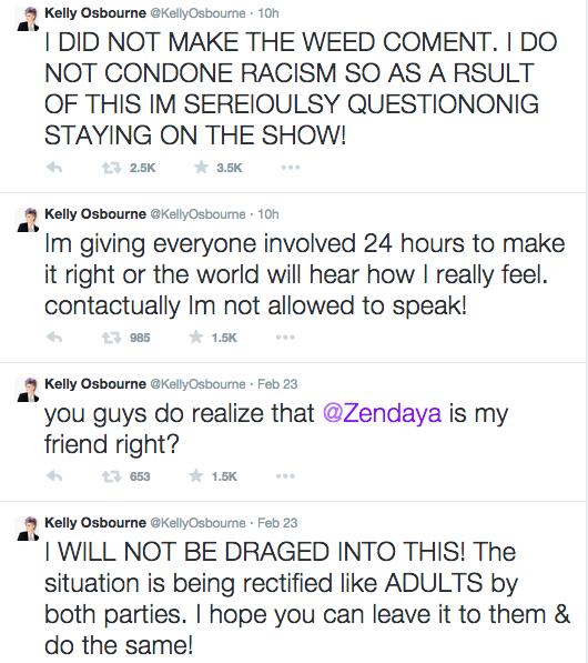 Kelly Osbourne Giuliana Rancic Zendaya Tweets