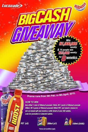 Lucozade & Ribena Big Cash Giveaway - BellaNaija - February 2015