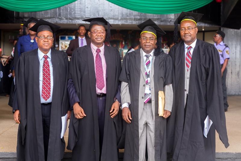 Dotun Awoyemi, Registrar OAU. Prof. Ayobami Salami, Deputy Vice-Chancellor Academics OAU. Prof. Olabode Asubiojo, Director, OAUCDL. Prof. Mike Adeyeye, Deputy Director OAUCDL