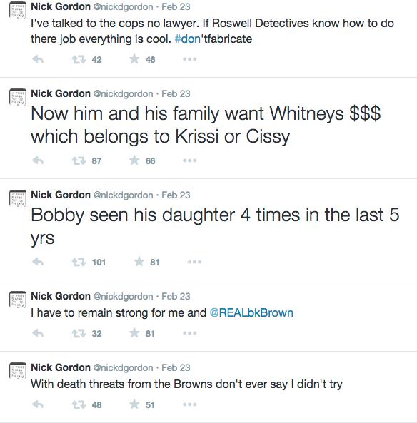Nick Gordon Tweets against Brown Family 3