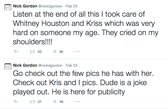 Nick Gordon Tweets against Brown Family 4