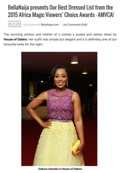 BellaNaija presents Our Best Dressed List from the 2015 Africa Magic Viewers' Choice Awards