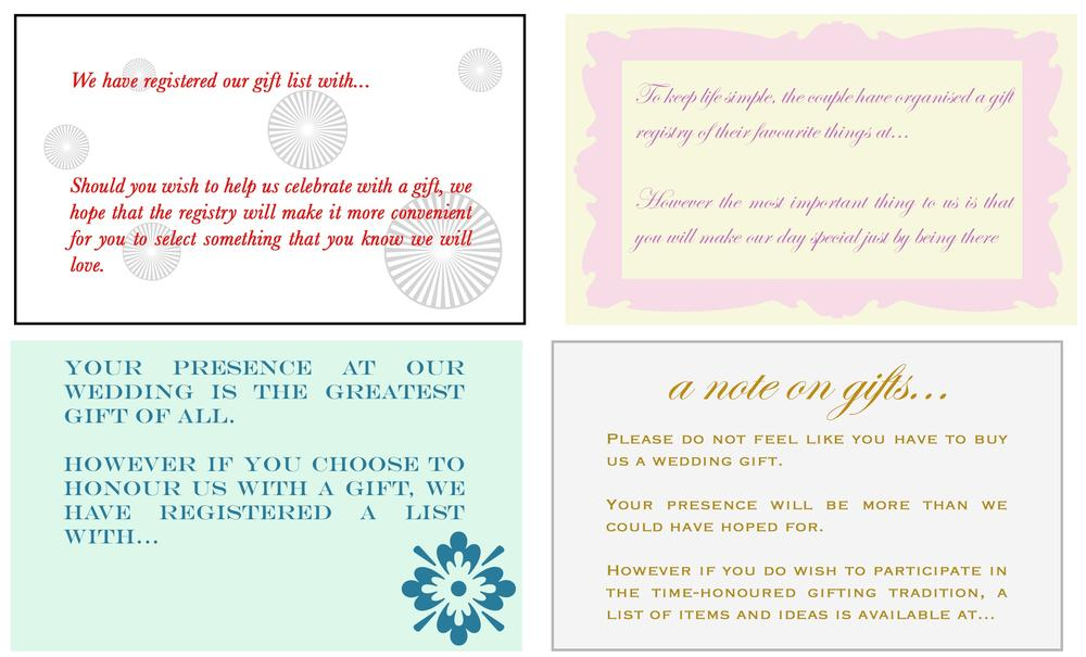 Example Of Wedding Gift List : Wedding Invitation Gift List Wording ExamplesWedding Invitation ...