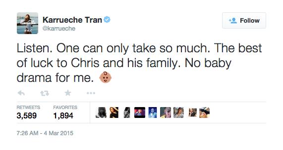 Karrueche Tran Tweets on Chris Brown's Baby Mama Drama