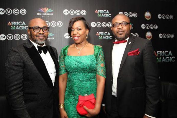 Multichoice Nigeria MD -John Ugbe, Regional Director, M-Net (West) - Wangi Mba-Uzoukwu and Kufre Ekanem, Corporate Affairs Adviser, Nigerian Breweries