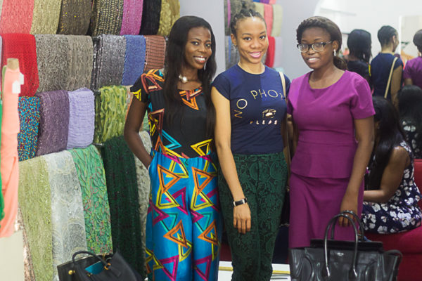 L-R: mo'fari Couture, Y.E.G.A's representative and House of Dabira at Flow Fabrics