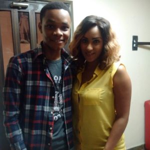 Winner of the #PriceCheckRadioShow 'Find and Win' Competition, George Wright, and Ghanaian Actress, Juliet Ibrahim