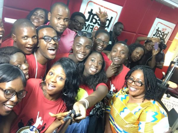 Students at Beat FM with Assistant Brand Manager, Amstel Malta, Phoebe Larry-Izamoje