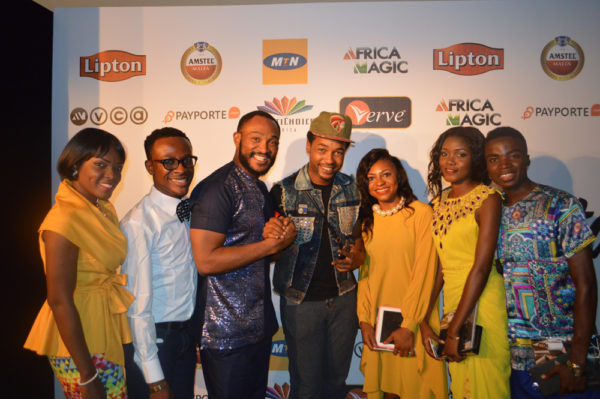 Students with Nonso Diobi and Blossom Chukwujekwu at the Nominees Cocktail