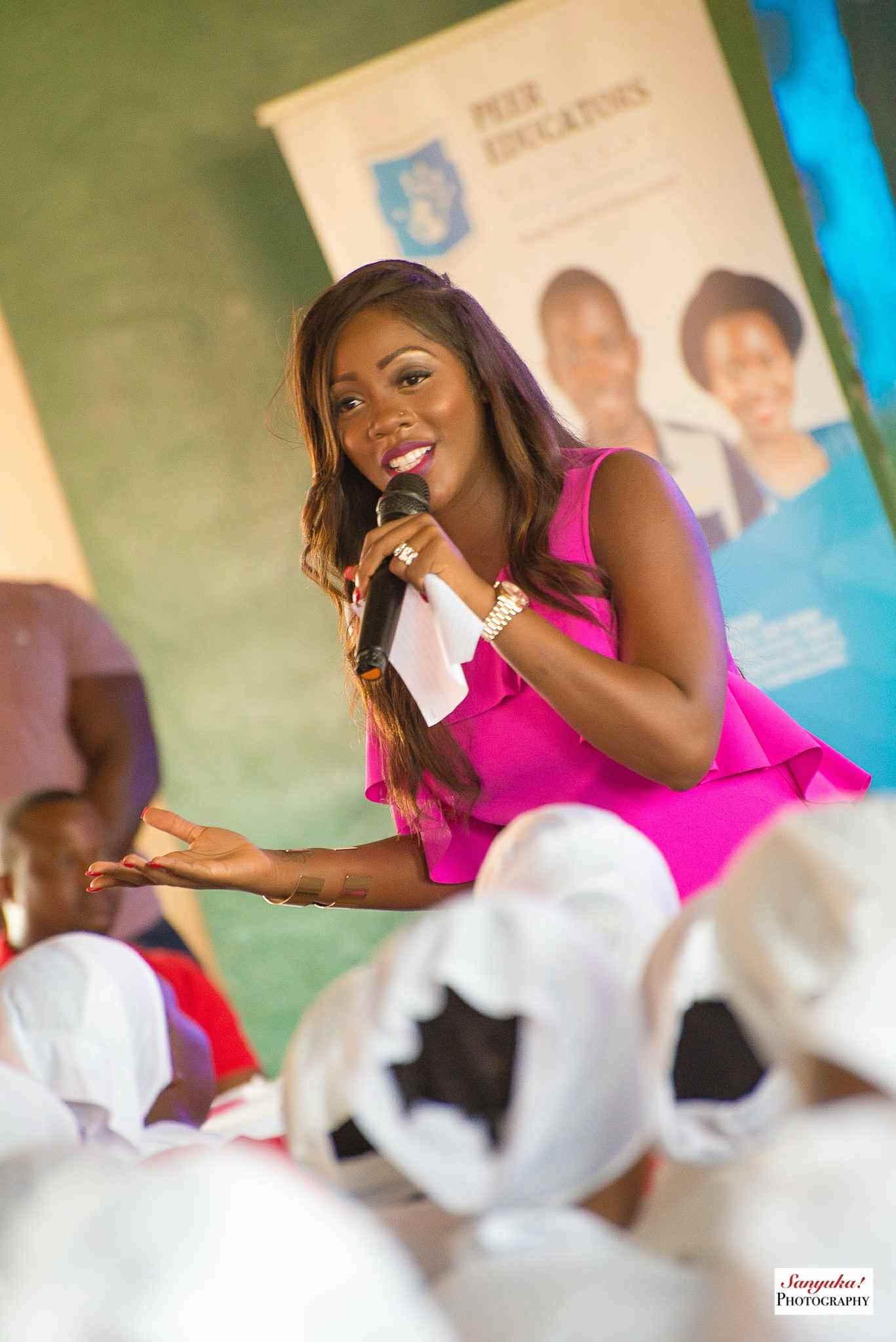 tiwa savage visits uganda school  talks about unsafe