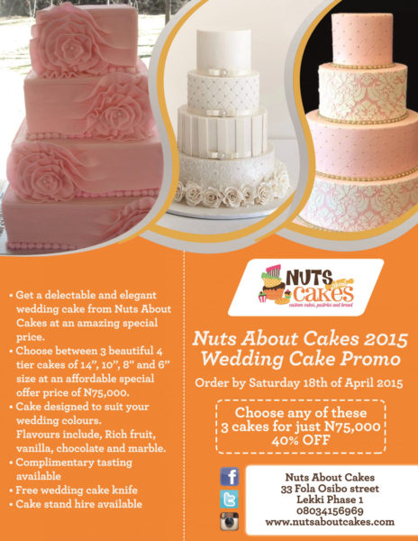 Wedding Cakes promo special offer flyer 2015