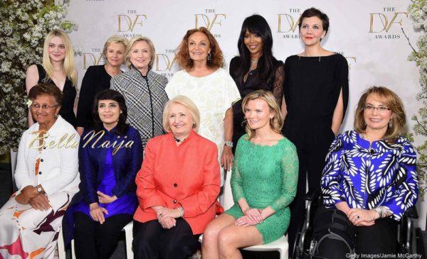 (Top Row L-R)Dakota Fanning, Tina Brown, Hilary Clinton, Diane Von Furstenberg, Naomi Campbell and Maggie Gyllenhaal (Bottom Row L-R) Adimaimalaga Tafuna'i,Samar Minallah Khan, Melanne Verveer, Becky Straw and Gabrielle Giffords