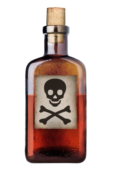 Poison bottle with warning sign in label, isolated, clipping path.