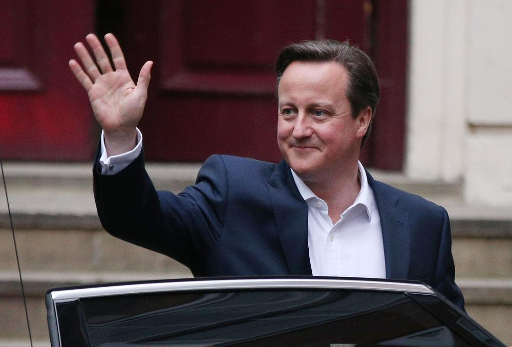 LONDON, ENGLAND - MAY 08: Prime Minister David Cameron leaves for Downing Street on May 8, 2015 in London, England. After the United Kingdom went to the polls in a closely fought General Election the Conservative party, led by David Cameron, are expected to be the winning party with support for both the Labour party and the Liberal Democrats falling away throughout the country. (Photo by Dan Kitwood/Getty Images)