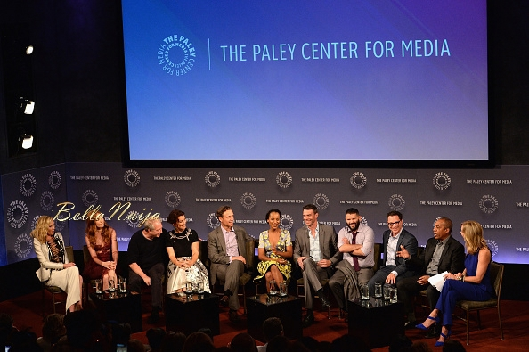 (L-R) Portia de Rossi, Darby Stanchfield, Jeff Perry, Bellamy Young, Tony Goldwyn, Kerry Washington, Scott Foley, Guillermo Diaz, Joshua Malina, Joe Morton and Lara Spencer